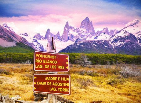 glaciares: Park signs in Los Glaciares National Park, Fitz Roy Mountain Range, Argentina. Stock Photo