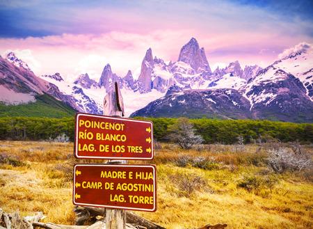 fitz roy: Park signs in Los Glaciares National Park, Fitz Roy Mountain Range, Argentina. Stock Photo
