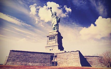 statue: Vintage filtered photo of the Statue of Liberty in New York City, USA. Stock Photo
