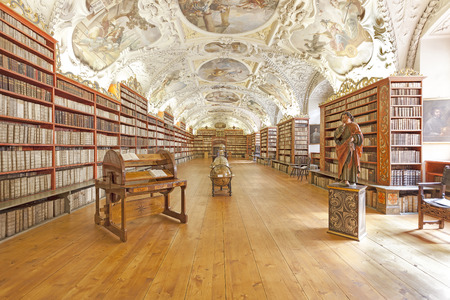 Prague, Czech Republic- June 15, 2014: The Theological Hall in Strahov monastery in Prague, one of the finest library interiors in Europe.