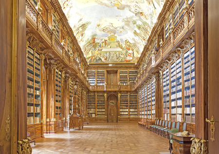 Prague, Czech Republic- June 15, 2014: Library in Strahov monastery in Prague, one of the finest library interiors in Europe. Editorial