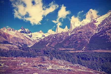 roy: Vintage toned Fitz Roy Mountain Range, Argentina.
