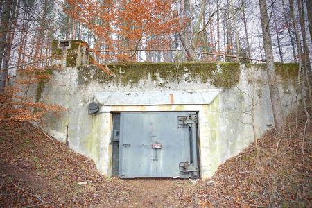cold war: Old abandoned Cold War bunker in forest, Podborsko in Poland.