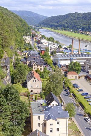 schweiz: Aerial view of Bad Schandau in Saxon Switzerland (Saechsische Schweiz), Germany.
