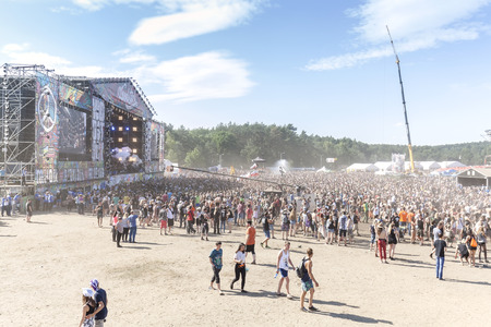 Kostrzyn nad Odra, Poland - August 1, 2015: Main stage of the 21th Woodstock Festival Poland (Przystanek Woodstock), one of the biggest ticket free rock music festivals in Europe. Sajtókép