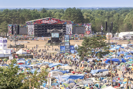 Kostrzyn nad Odra, Poland - August 1, 2015: General view of main stage and tents at the 21th Woodstock Festival Poland (Przystanek Woodstock).