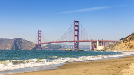 beach panorama: Panoramic view of Golden Gate Bridge, San Francisco, California, USA. Stock Photo