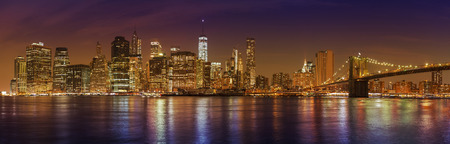 new york city panorama: Manhattan skyline at night, New York City panoramic picture, USA. Stock Photo