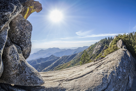 dome of the rock: Moro Rock against sun, unique granite dome rock formation in Sequoia National Park, USA. Stock Photo