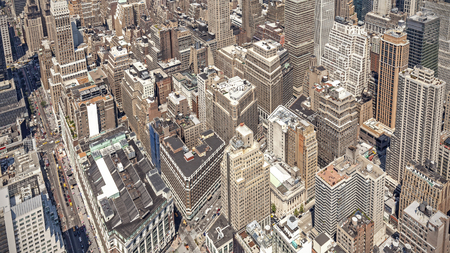 manhattans: Aerial view of Manhattans downtown, NYC, USA. Stock Photo