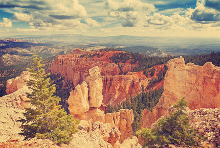 plateau point: Vintage toned rock formations in Bryce Canyon National Park, Utah, USA. Stock Photo