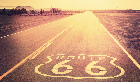 route 66: Vintage filtered sunset over Route 66, California, USA.
