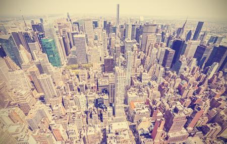 aerial city: Retro stylized aerial view of Manhattan, New York City, USA.