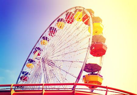 Vintage retro toned picture of an amusement park, Santa Monica, USA. Stock Photo