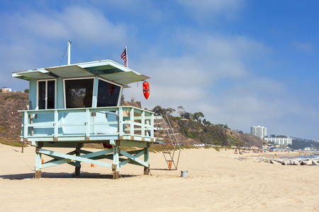surf: Lifeguard tower in Santa Monica, California, USA.