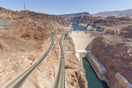 Hoover Dam, concrete arch gravity dam in the Black Canyon of the Colorado River, USA.