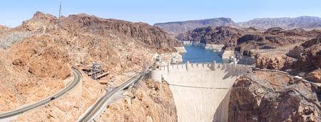 hoover dam: Panoramic view of the Hoover Dam, USA. Stock Photo
