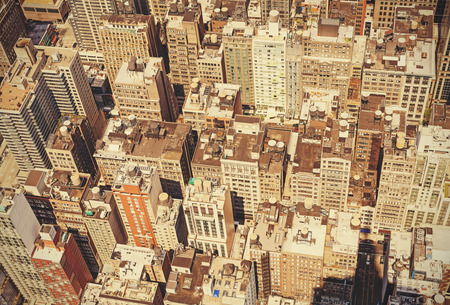 new building: Retro old film style roofs of Manhattan, New York, USA. Stock Photo