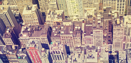 broadway tower: Retro old film style panoramic view of Manhattan roofs, New York, USA. Stock Photo