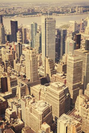 broadway tower: Retro old film style view of Manhattan, New York, USA. Stock Photo