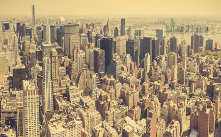 broadway tower: Retro stylized aerial view of Manhattan, New York City, USA.