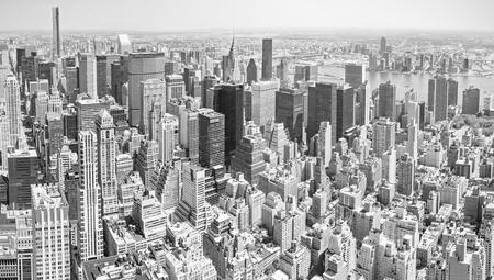 new building: Black and white toned panoramic view of Manhattan, New York City, USA.