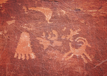 Ancient petroglyphs in Valley of Fire State Park, Nevada, USA. Stock Photo
