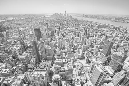 broadway tower: Black and white toned view of Manhattan, New York City, USA Stock Photo