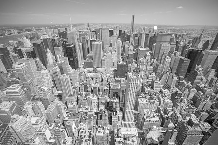 Black and white toned aerial view of Manhattan, New York City, USA.