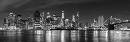 NYC: Black and white New York City at night panoramic picture, USA.