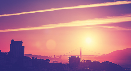 san francisco: Vintage old style picture of a sunset over San Francisco, USA.