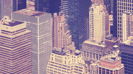 broadway tower: Vintage toned view of skyscrapers in New York City, USA.