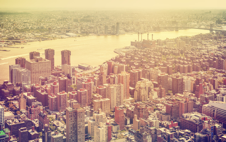 broadway tower: Retro toned aerial view of New York City, USA. Stock Photo