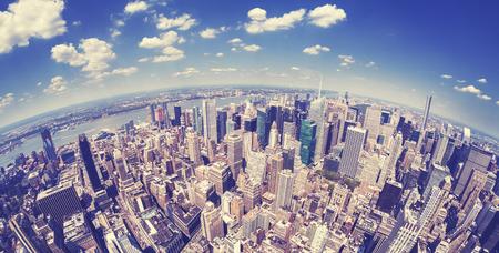 Vintage toned fisheye view of Manhattan, New York, USA.