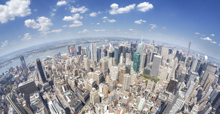 wide: Fisheye lens aerial view of Manhattan, New York, USA.