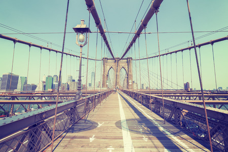 Vintage stylized photo of the Brooklyn Bridge, NYC, USA.