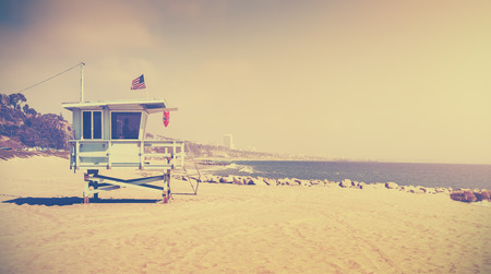 life: Old film retro stylized lifeguard tower, Santa Monica, USA. Stock Photo