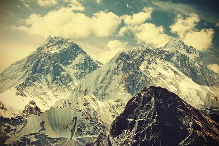 mount everest: Retro toned picture of Mount Everest, Nepal. Stock Photo