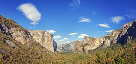 tunnel view: Yosemite Valley from the tunnel view, Yosemite National Park, California, USA.