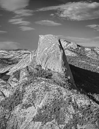 dome of the rock: Black and white Half Dome rock formation, famous rock climbers destination, Yosemite National Park, USA.