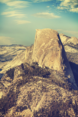 dome of the rock: Old film retro toned Half Dome rock formation, Yosemite National Park, USA. Stock Photo