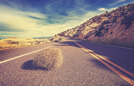 Vintage toned tumbleweed on empty road, travel concept picture. Standard-Bild