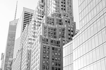 Black and white photo of skyscrapers in Manhattan, New York City, USA.
