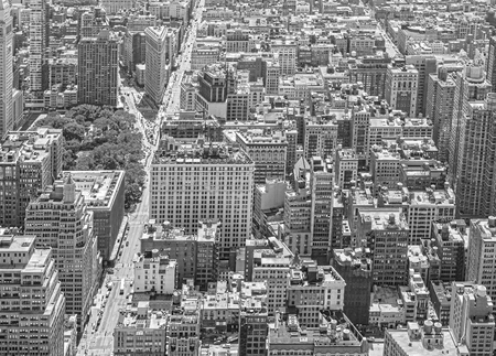 broadway tower: Black and white aerial view of Manhattan, New York City, USA.