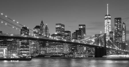 NYC: Black and white Manhattan waterfront at night, New York City, USA. Stock Photo