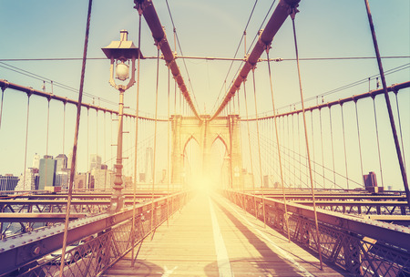 manhattan bridge: Vintage stylized picture of the Brooklyn Bridge in New York City, USA. Stock Photo