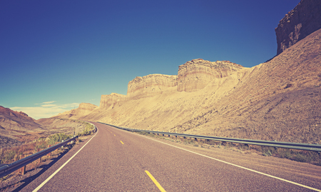country highway: Vintage toned country highway, Utah State, USA.