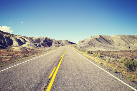 endless: Vintage toned endless country highway, USA. Stock Photo