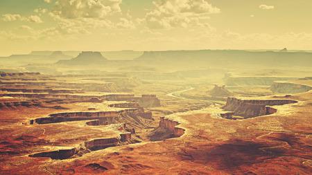 canyonlands: Vintage stylized Canyonlands National Park landscape, Utah, USA