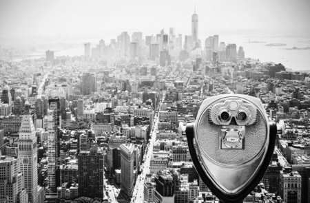 Binoculars over Manhattan Skyline, New York City, USA.